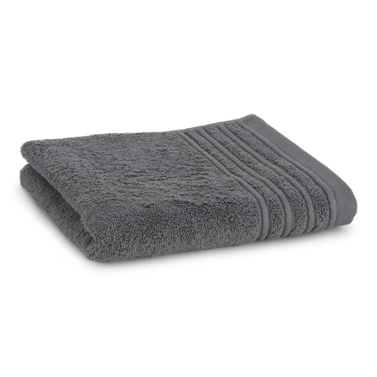 Håndklæde med broderet navn - mørk grå