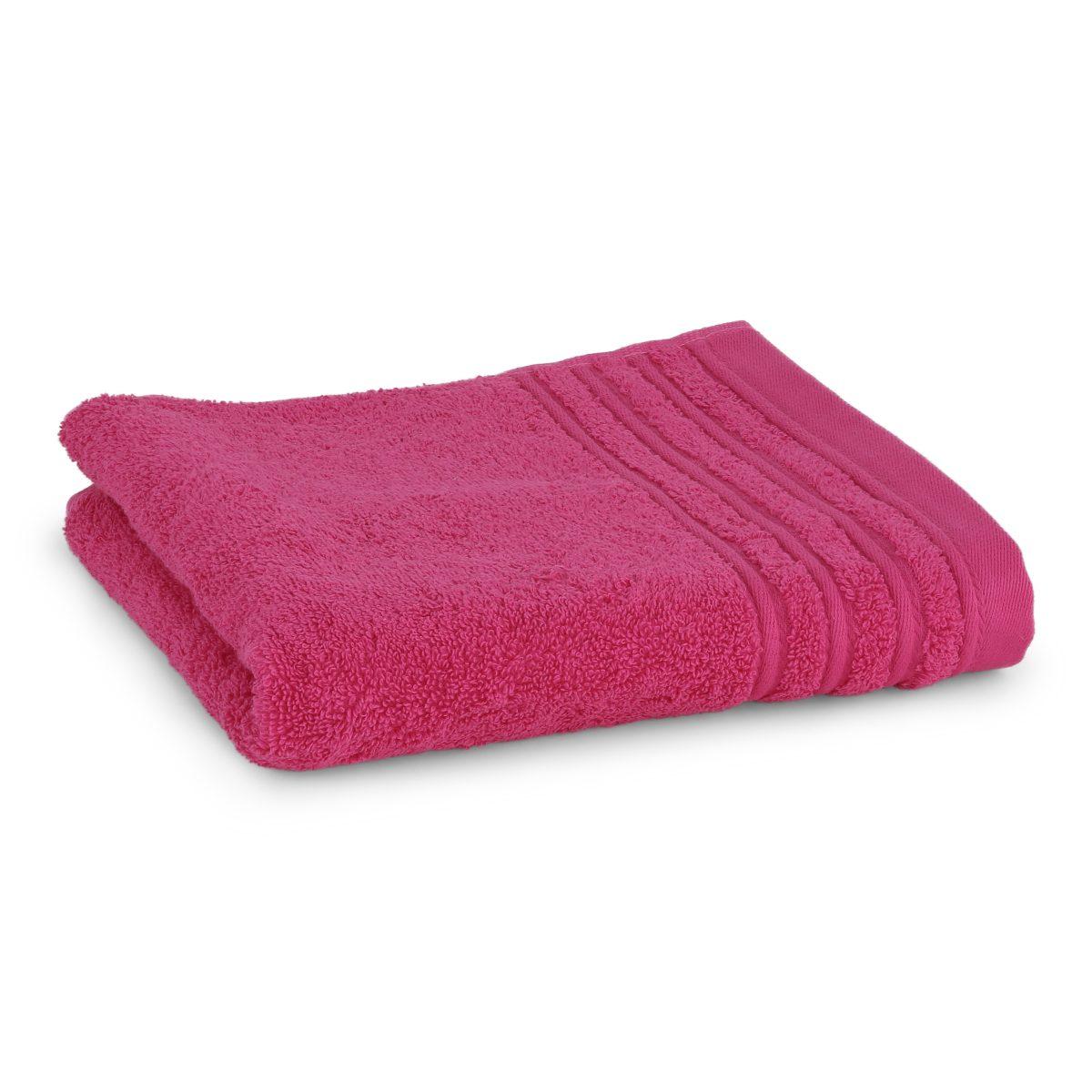 Håndklæde med broderet navn - pink